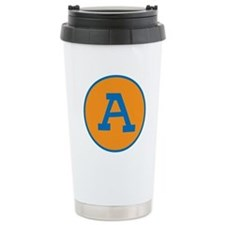 Retro Orange and Blue Custom Letter Travel Mug