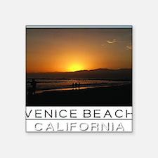 "Venice Beach Sunset king si Square Sticker 3"" x 3"""