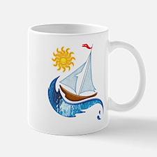 Sailboat Ocean and Sun Mugs