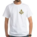 Master Masons Golden Square and Compasses White T
