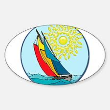 Sailboat in Creyon Colors with Filigree Sun Sticke