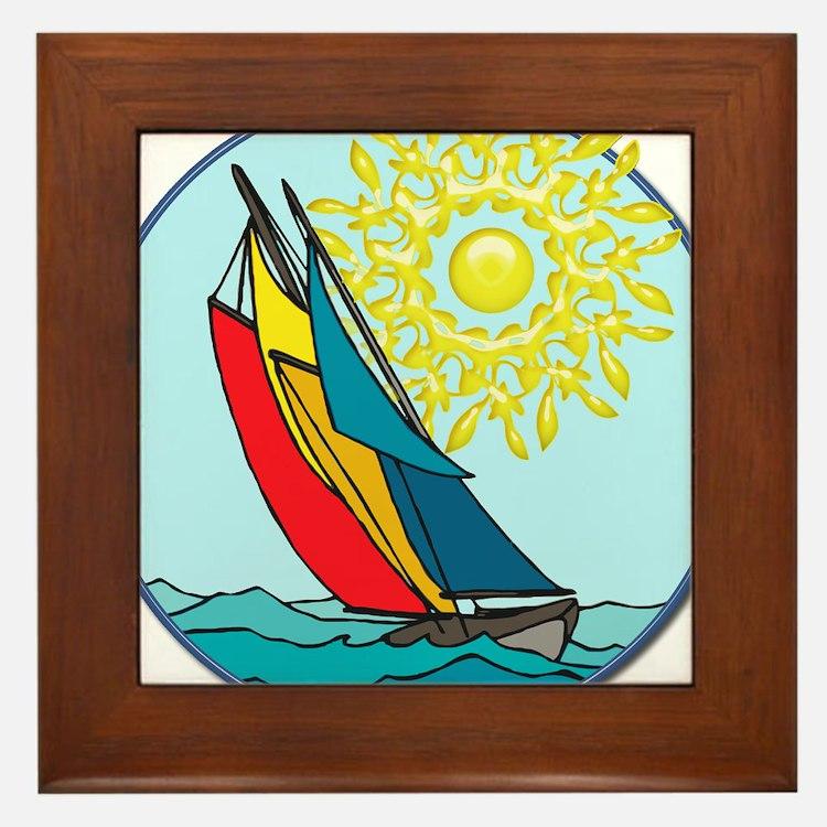 Cute Sailboat Framed Tile