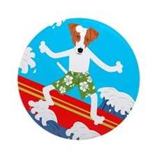 Jack Russell Terrier Surfer Ornament (Round)