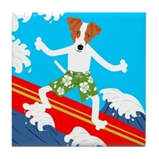 Jack Russell Terrier Surfer Tile Coaster