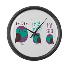 Owl Family Large Wall Clock