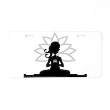 Cute Yoga meditation Aluminum License Plate