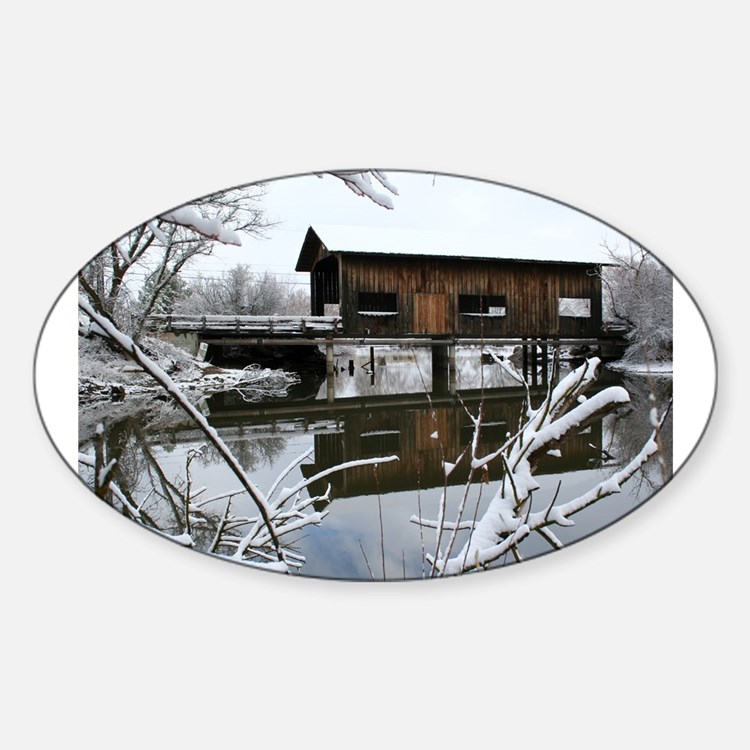 Snow Covered Bridge Rectangle Decal