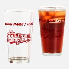 Custom Red Fire Truck Drinking Glass