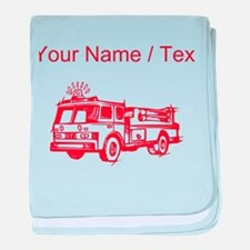 Custom Red Fire Truck baby blanket