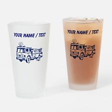 Custom Blue Fire Truck Drinking Glass