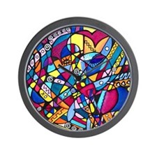 Hearts in Rainbow Colors Wall Clock