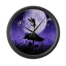 Fairy Silhouette 2 Large Wall Clock
