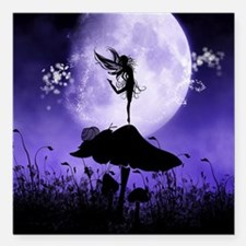 "Fairy Silhouette 2 Square Car Magnet 3"" x 3"""