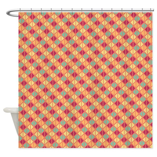 Red Orange And Green Geometric Shower Curtain By Showercurtainsgalore
