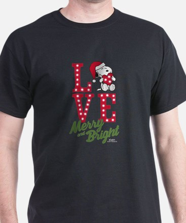 Snoopy Love Merry And Bright T-Shirt