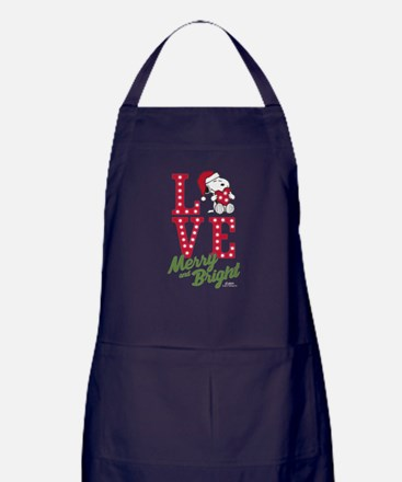 Snoopy Love Merry And Bright Apron (dark)