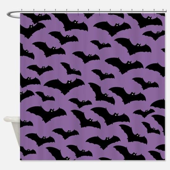 Spooky Halloween Bat Pattern Shower Curtain