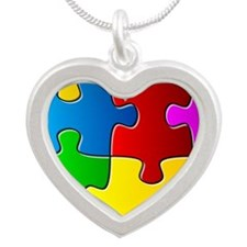 Autism Awareness Silver Heart Necklace
