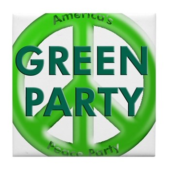 Green Party: America's Peace Party Tile Coaster