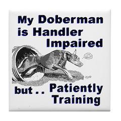 Doberman Pinscher Agility Tile Coaster