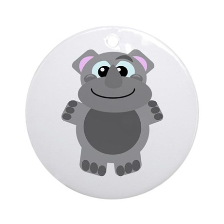 Goofkins Cute Little Rhino Ornament (Round)