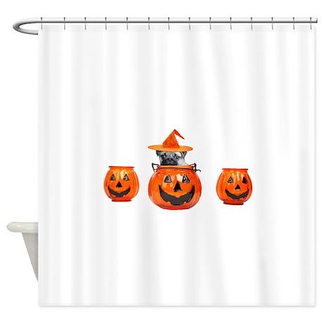 Halloween Pug Dog Shower Curtain By Ritmoboxers