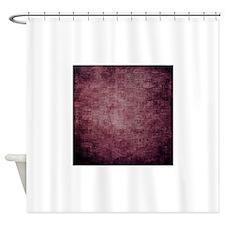 Burgundy Grunge Woven Basket Texture Shower Curtai