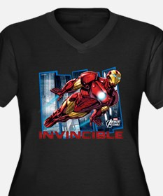 Iron Man Inv Women's Plus Size V-Neck Dark T-Shirt