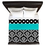 Black damask Luxe King Duvet Cover