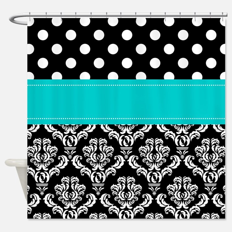 Aqua Black Damask Shower Curtains Aqua Black Damask Fabric