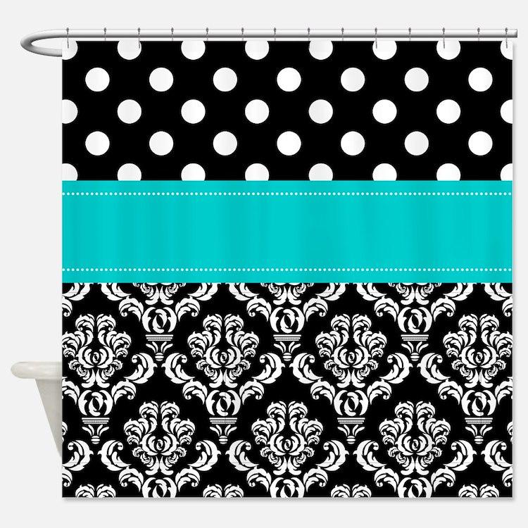 Aqua Black Damask Shower Curtains | Aqua Black Damask Fabric ...