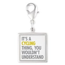 Its A Cycling Thing Silver Square Charm