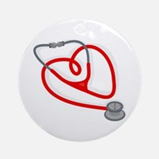 Stethoscope Heart Ornament (Round)