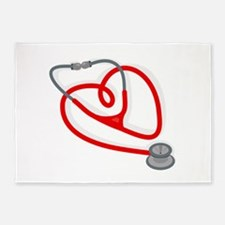 Stethoscope Heart 5'x7'Area Rug