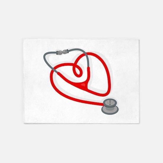 Stethoscope Heart 5'x7'Area Rug