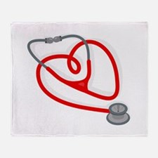 Stethoscope Heart Throw Blanket