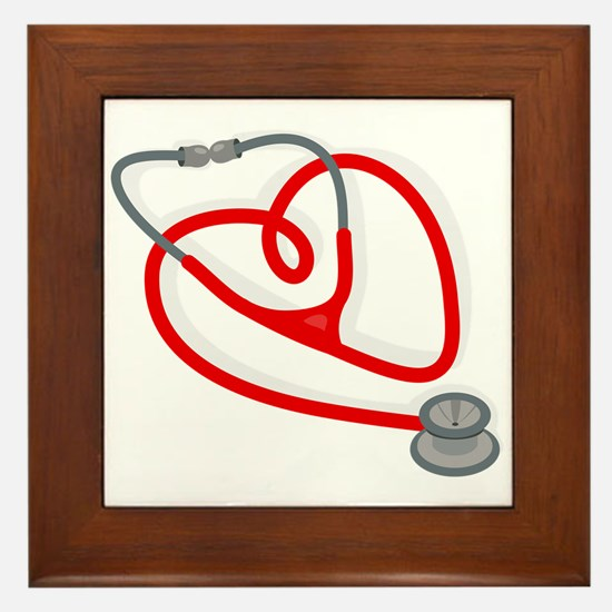 Stethoscope Heart Framed Tile