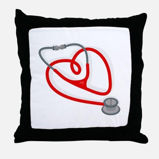 Stethoscope Heart Throw Pillow