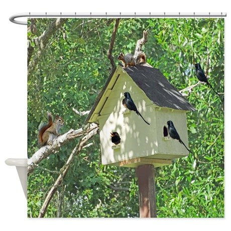 Cute Birdhouse Shower Curtain By Joysdesignershop