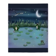 Frogs in Lilypad Pond Throw Blanket