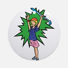 winning golfer girl Ornament (Round)