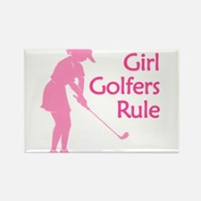 pink girl golfers rule Magnets