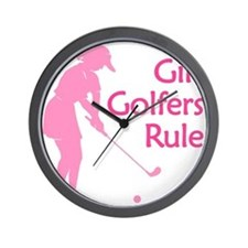 pink girl golfers rule Wall Clock
