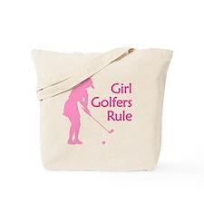 pink girl golfers rule Tote Bag