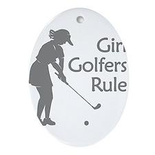 grey girl golfers rule Ornament (Oval)