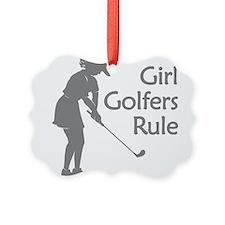 grey girl golfers rule Ornament