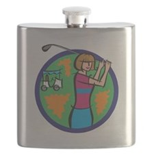 girl golfer with cart Flask