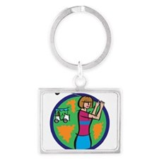 girl golfer with cart Keychains