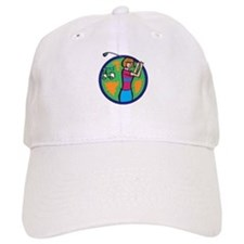 girl golfer with cart Baseball Baseball Cap
