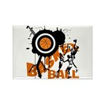 Grunge Basketball Rectangle Magnet (10 pack)